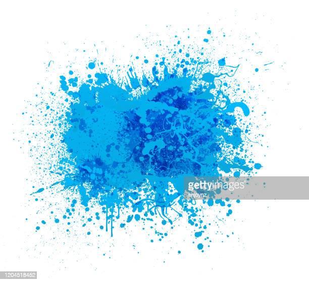ilustraciones, imágenes clip art, dibujos animados e iconos de stock de salpicadura de pintura azul - salpicar