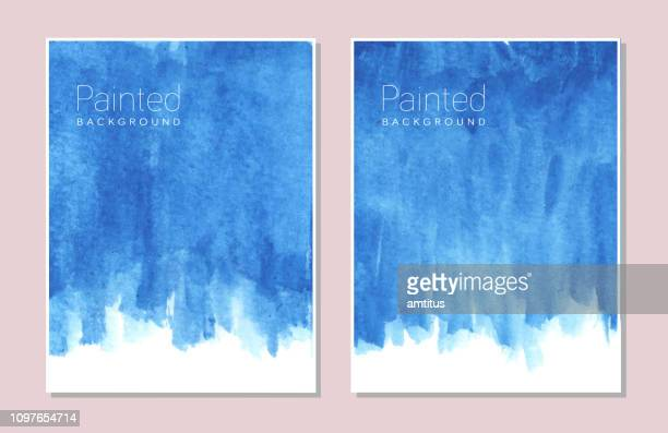 blue paint - watercolor background stock illustrations