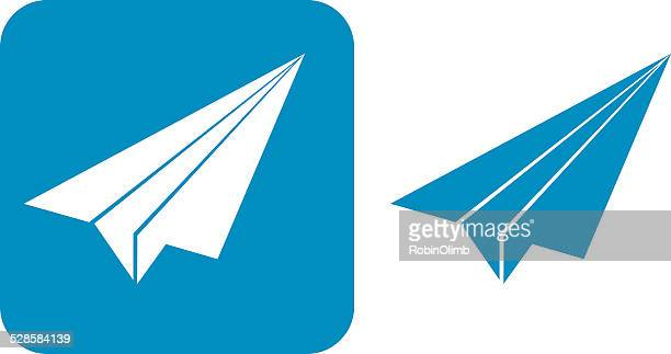 blue paper airplane icons, - paper airplane stock illustrations, clip art, cartoons, & icons