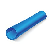 Blue paper roll on white