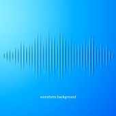 Blue paper sound waveform with shadow