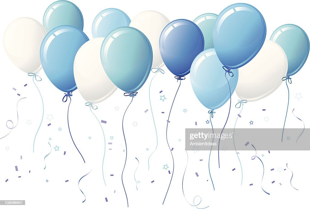 Blue Party Balloon with Stars and Confetti