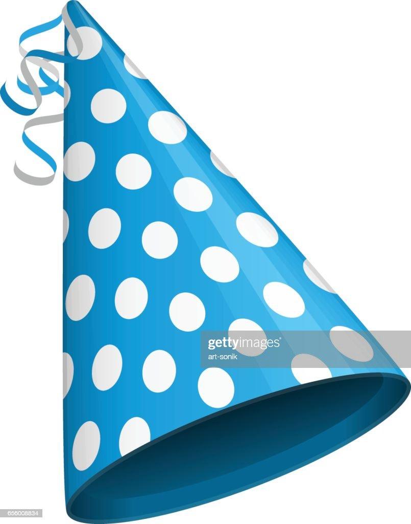 Blue party hat.