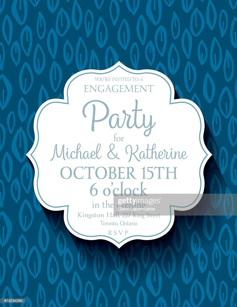 Blue Party Invitation Template On A Cute Doodled Background