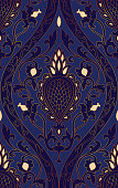 Blue pattern with damask.