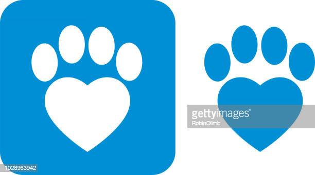 blue paw print icons - mammal stock illustrations