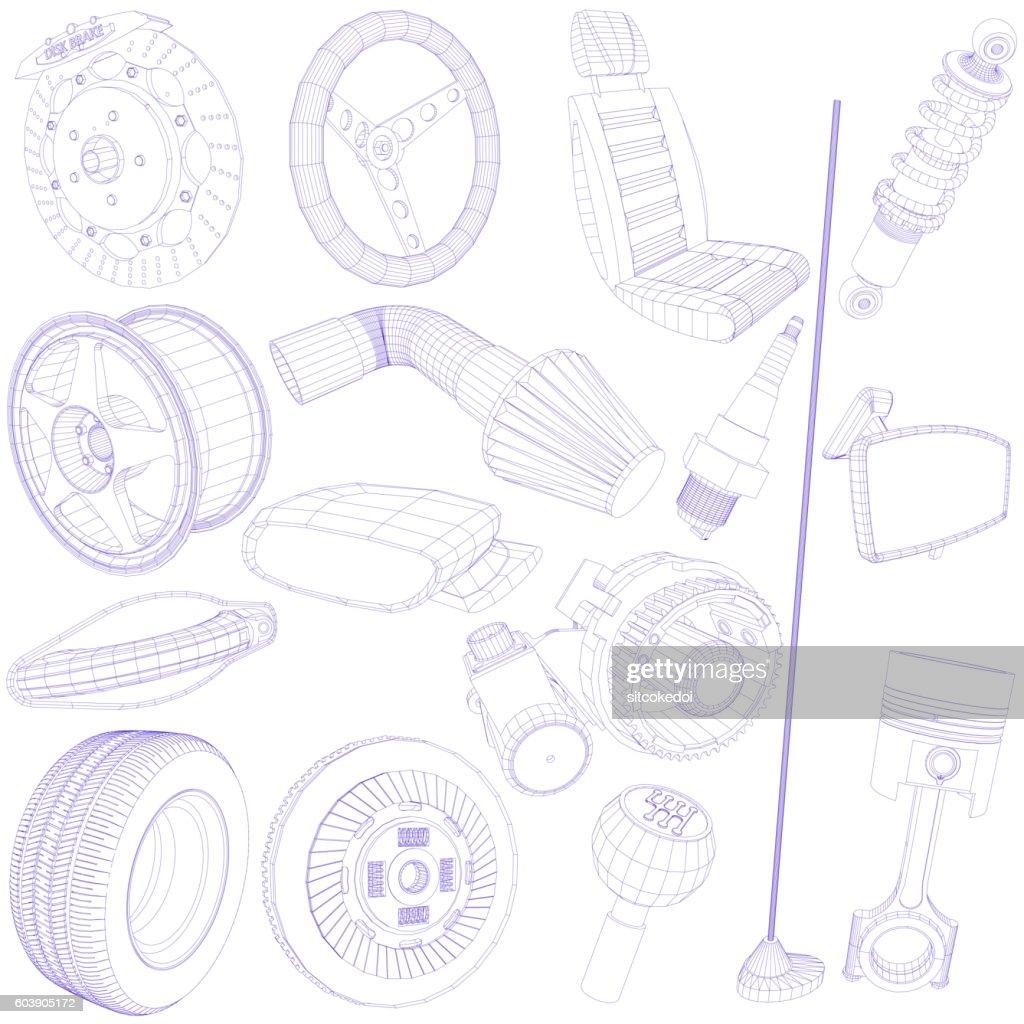 blue pen of car parts icon