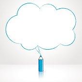 Blue Pencil Drawing Fluffy Cloud Speech Balloon