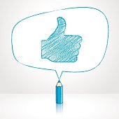 Blue Pencil Drawing Like Icon in Irregular shaped Speech Balloon
