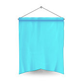 Blue Pennant Template Vector. Empty 3D Pennant Banner Blank. Classic Form