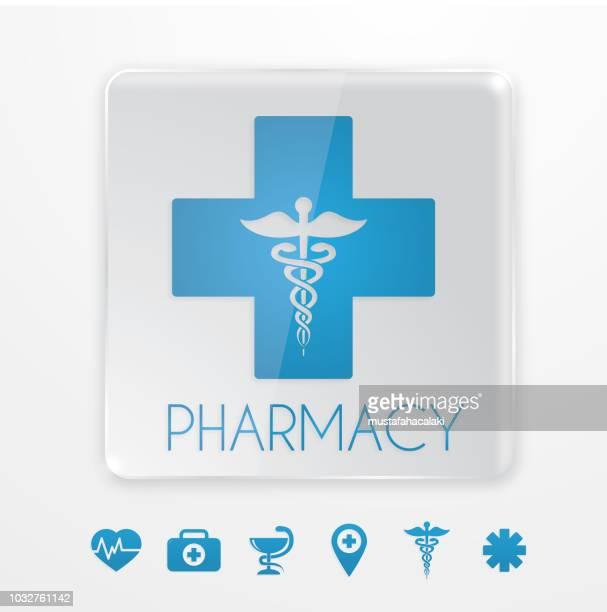 ilustraciones, imágenes clip art, dibujos animados e iconos de stock de símbolo de farmacia azul - farmacia