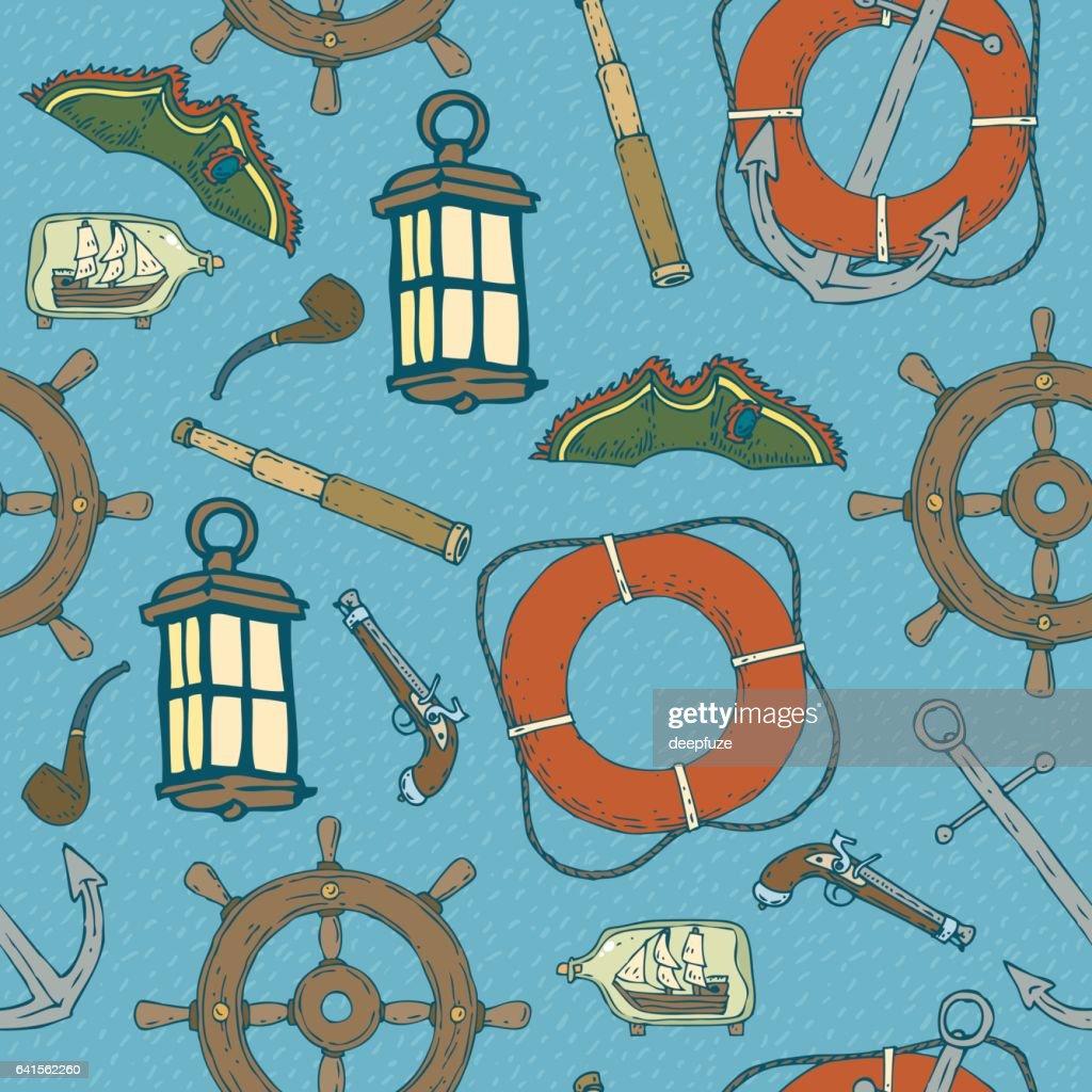 Blue Pirat Seamless Pattern