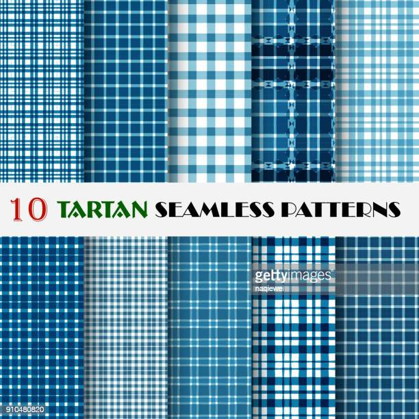 Blue Plaid Seamless Patterns Collection