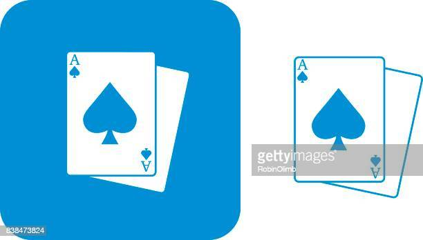 blue playing cards icons - ace stock illustrations, clip art, cartoons, & icons