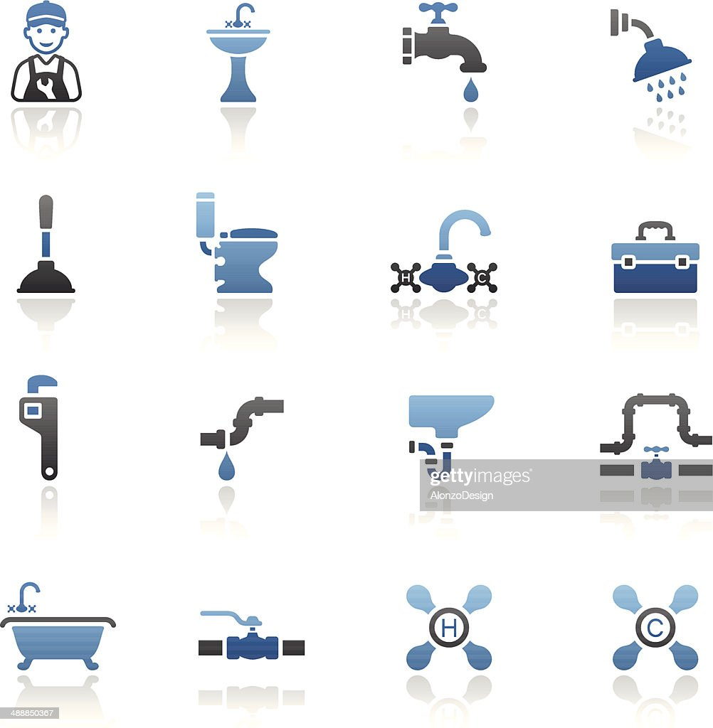 Blue Plumbing Icon Set