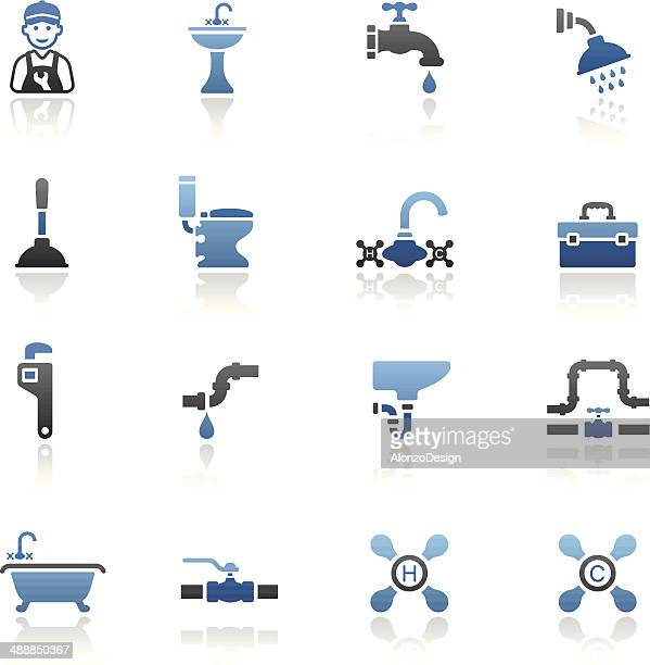 blue plumbing icon set - plunger stock illustrations, clip art, cartoons, & icons