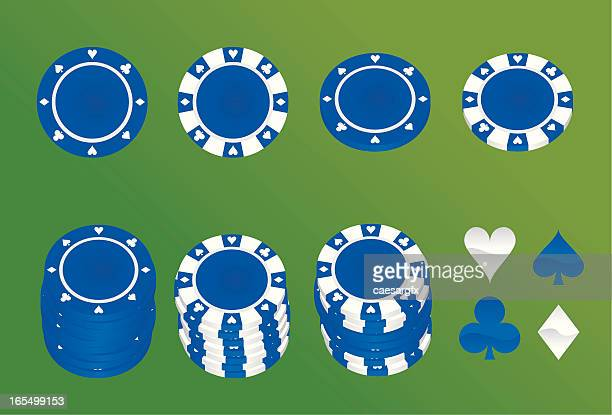 blue poker chips