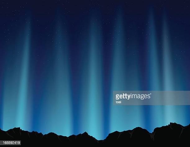 blue polar lights - aurora borealis stock illustrations