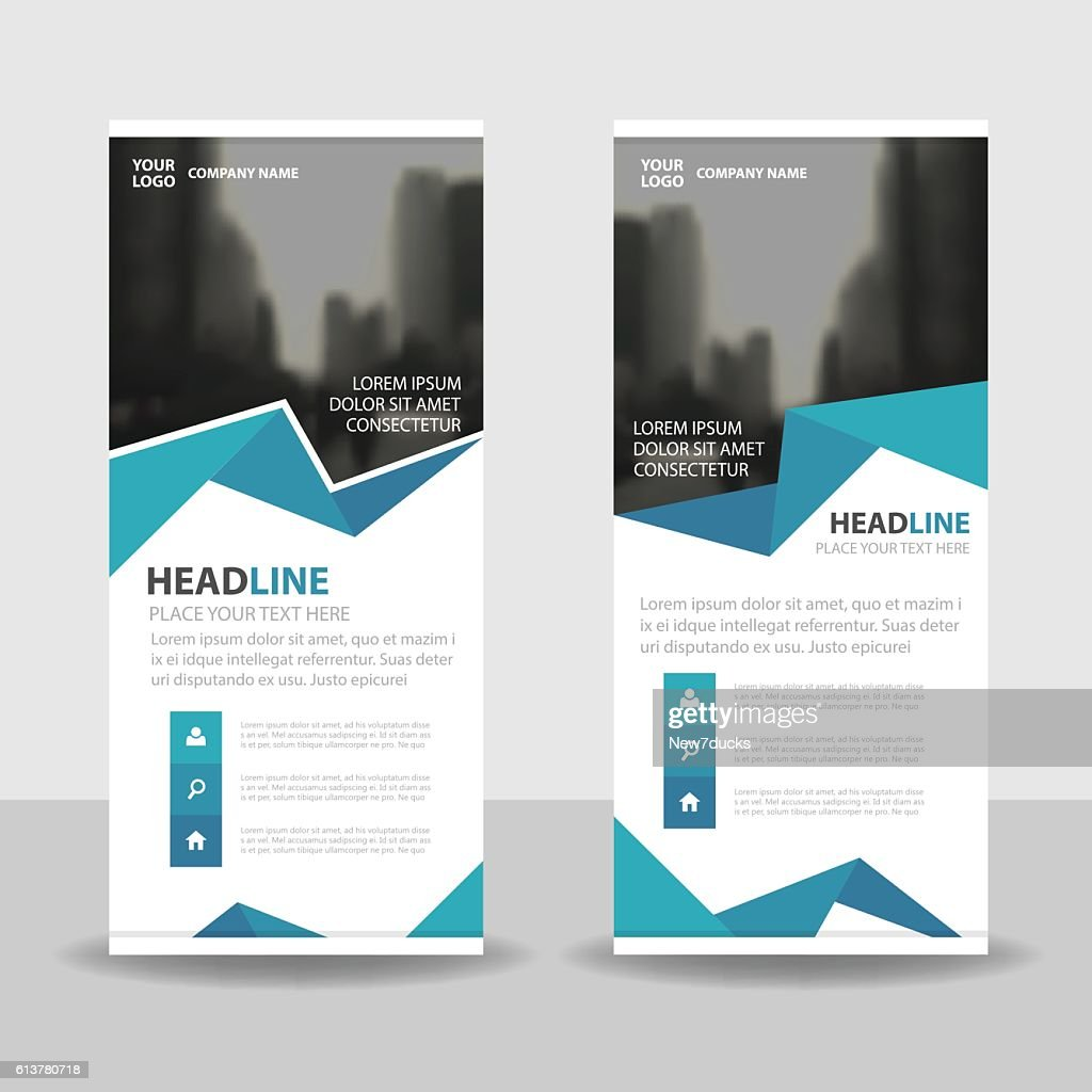 Blue polygon Business Roll Up Banner flat design template Abstract