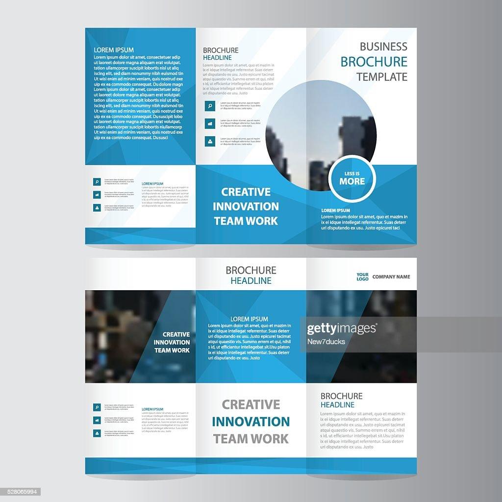 Blue polygon business trifold business Leaflet Brochure Flyer template