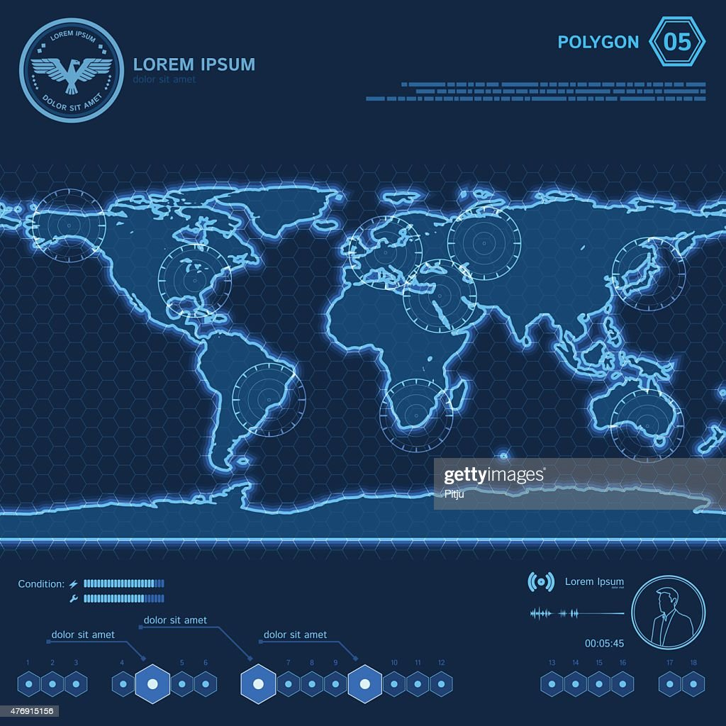 Blue Polygon World Map HUD Screen