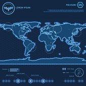 Blue Polygon World Map HUD Screen