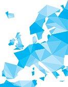 blue polygonal Europe map