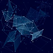 Blue polygonal space and lines. Abstract science background.