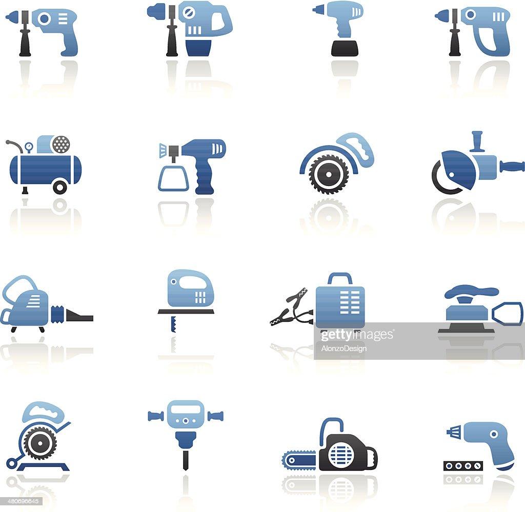 Blue Power Tools Icon Set