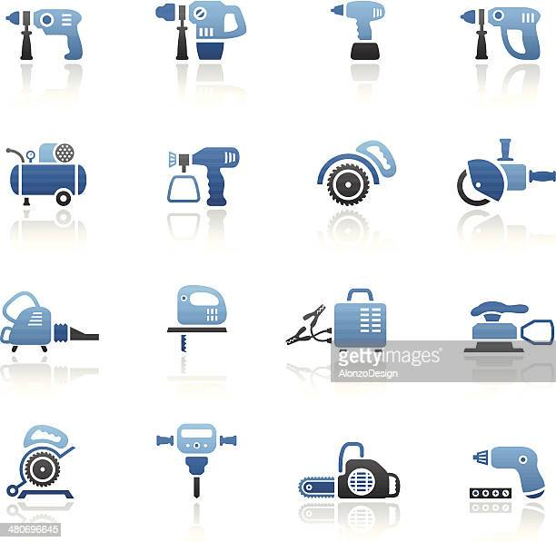 blue power tools icon set - leaf blower stock illustrations, clip art, cartoons, & icons