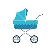 Blue pram for kid