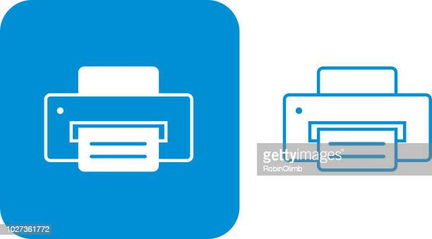 blue printer icons - printout stock illustrations