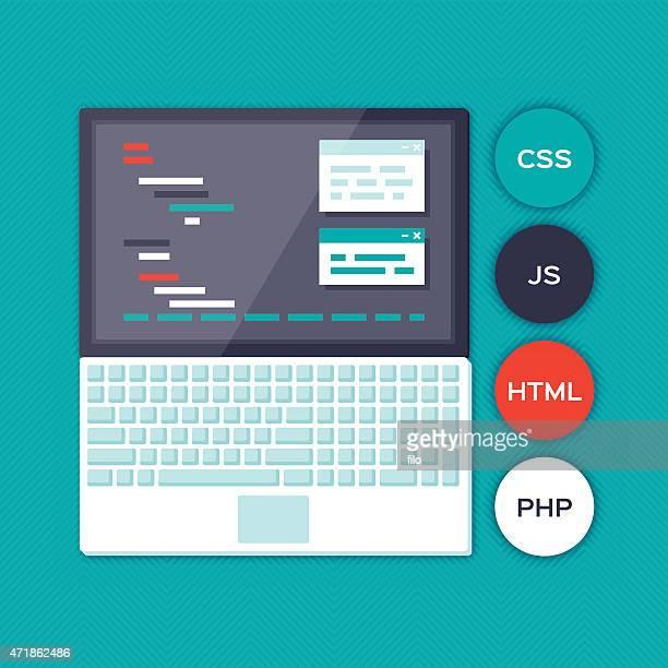 blue programming laptop - html stock illustrations, clip art, cartoons, & icons