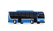 Blue public bus.
