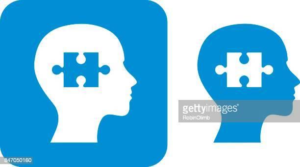 blue puzzle piece female head icon - human head stock illustrations
