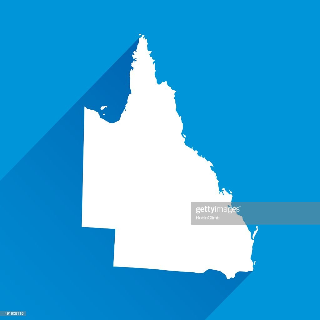 Blue Queensland Map Icon