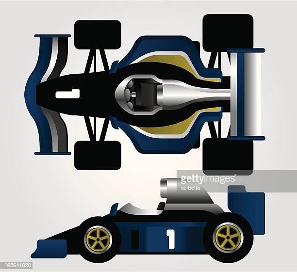 blue race car - formula one racing stock illustrations, clip art, cartoons, & icons