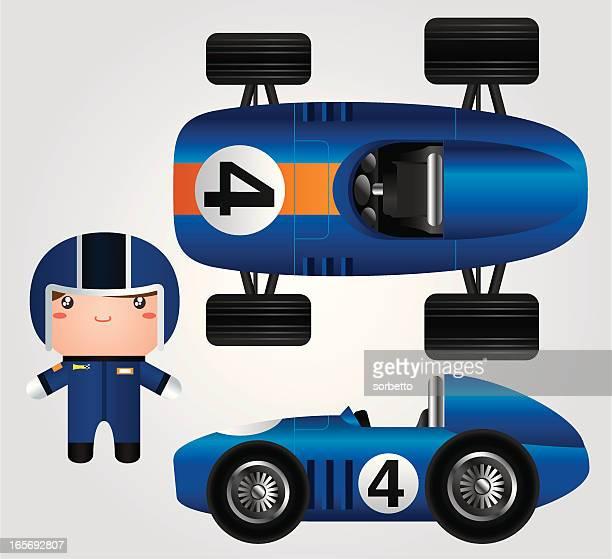 blue race car - race car driver stock illustrations, clip art, cartoons, & icons