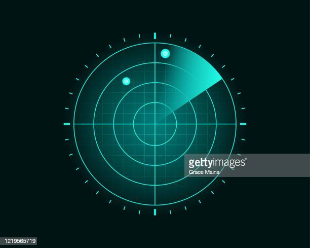 blue radar screen scanning surrounding and incoming aerial traffic - surveillance stock illustrations