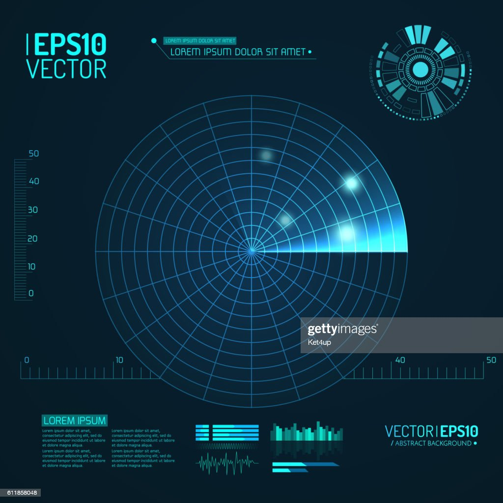 Blue radar screen. Vector illustration for your design. Technology background