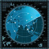 Blue radar screen with planes and world map