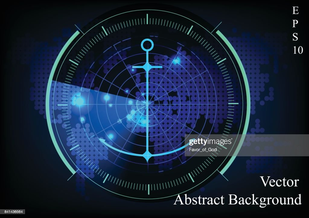 Blue radar screen.Technology background.Radar display with scanning and anchor with map background.( finding treasure concept)