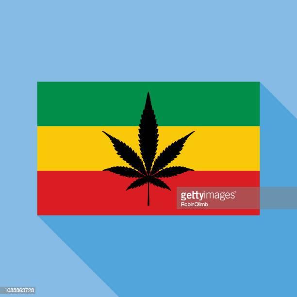 blue rastafarian marijuana flag icon - rastafarian stock illustrations, clip art, cartoons, & icons