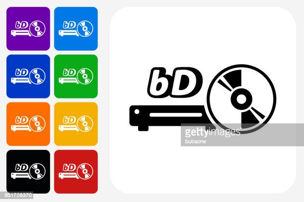 blue ray and dvd player icon square button set - dvd stock illustrations