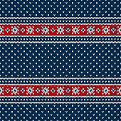 Blue, Red and White Seamless Knitted Pattern. Christmas and New Year Holiday Design Background with a Place for Text