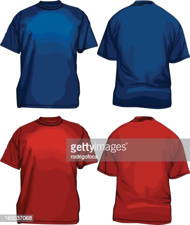 Blue red tee shirts vector front and back vector art for Red and blue t shirt
