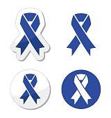 Blue ribbon - drunk driving, child abuse, anti-tobacco awareness symbol