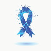 blue ribbon - prostate cancer awareness symbol.