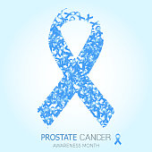 Blue ribbon symbol for prostate cancer awareness month. Vector background design for men social and health care campaign
