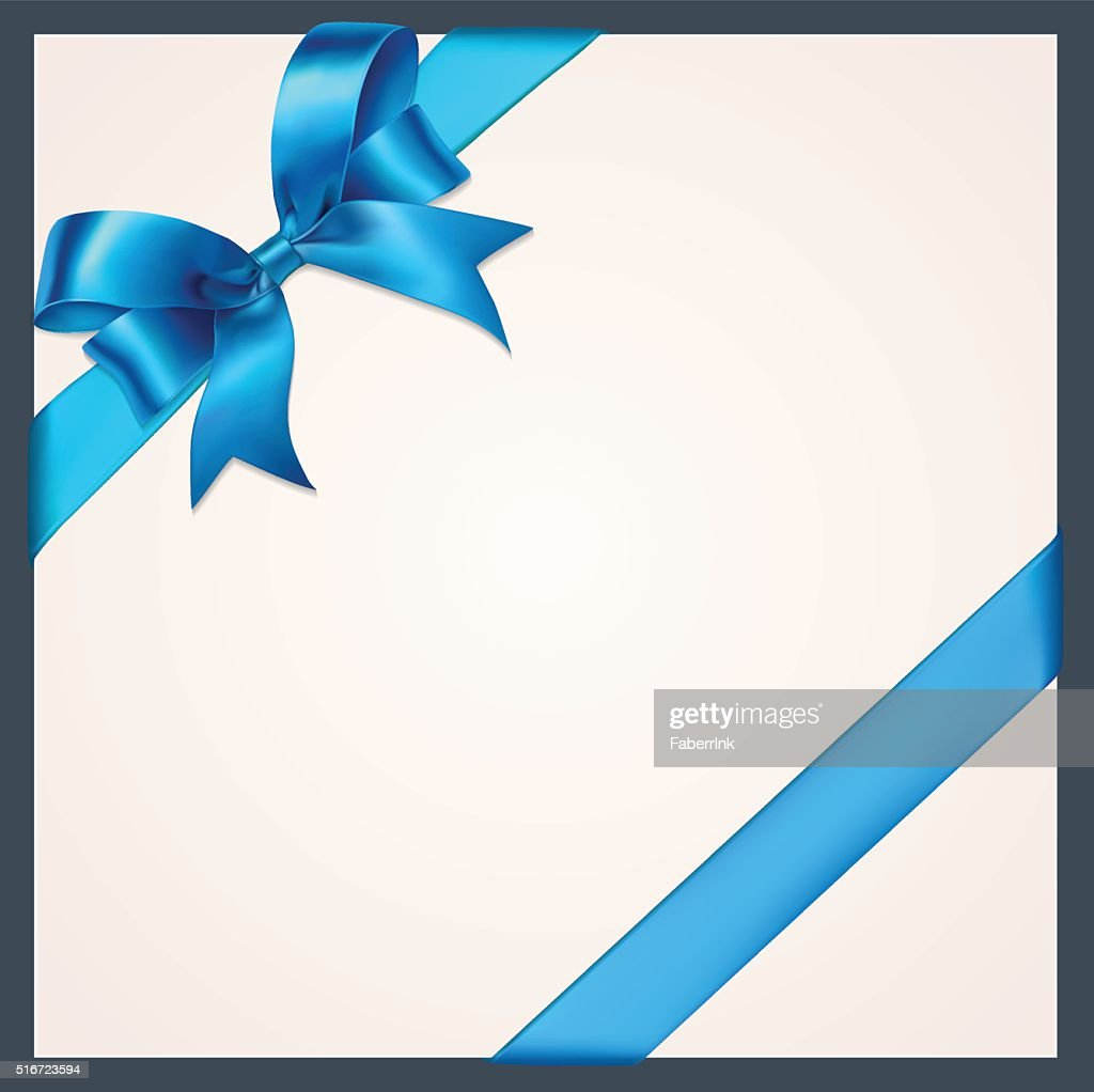 Blue ribbon with bow on a white background